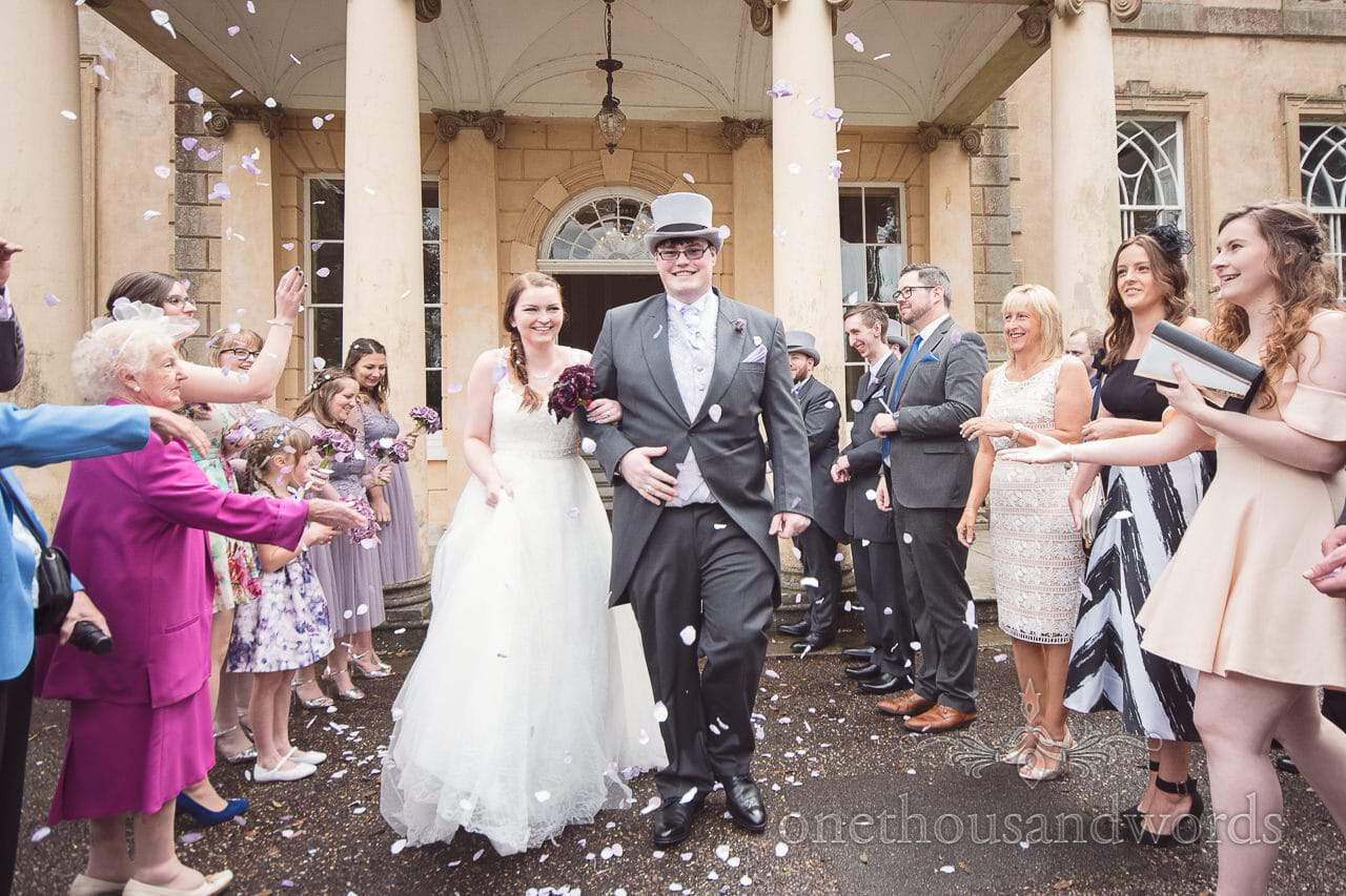Wedding confetti photograph at Upton House wedding venue in Poole