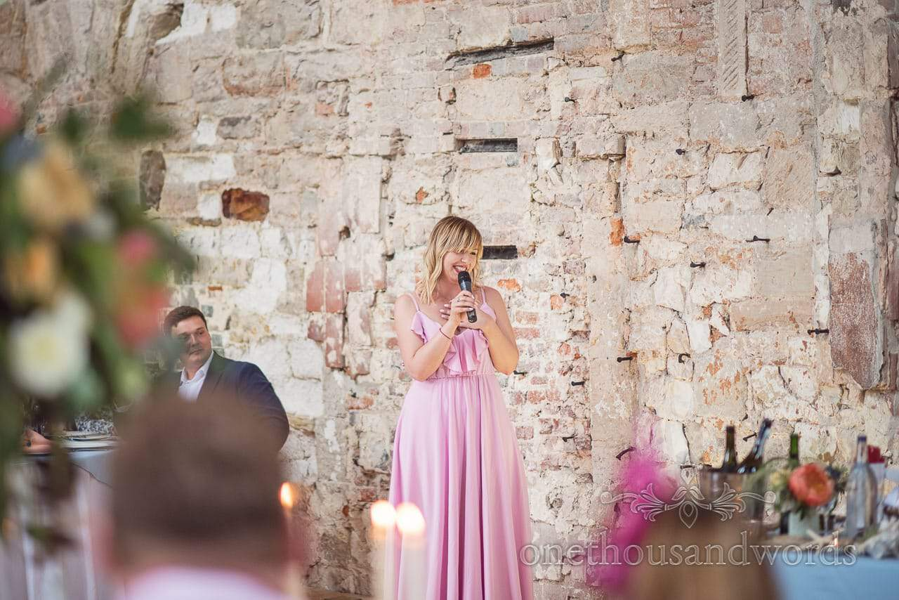 Wedding guest makes emotional wedding speech at Lulworth Castle wedding venue