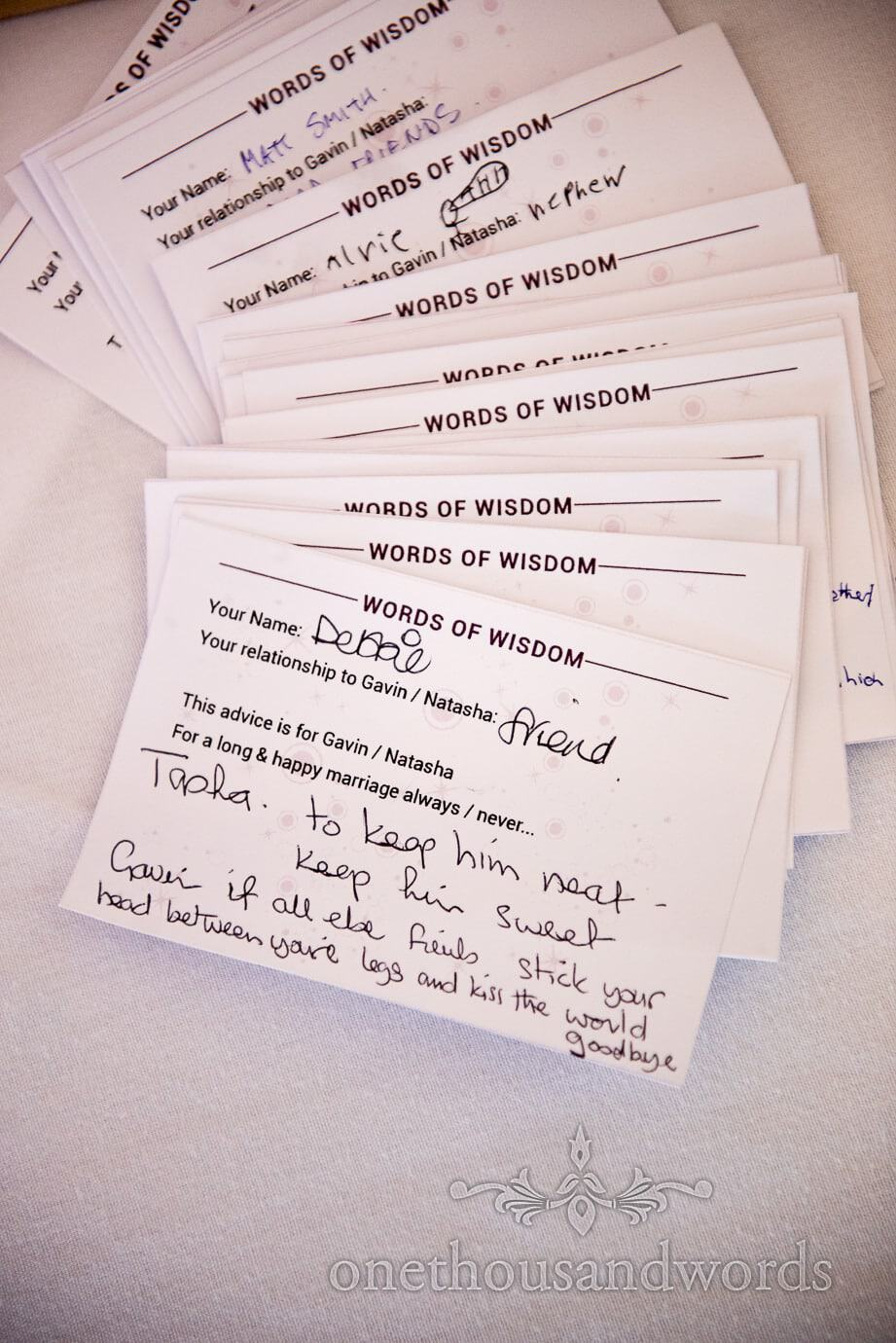 Words of wisdom wedding breakfast quiz cards advice for bride and groom