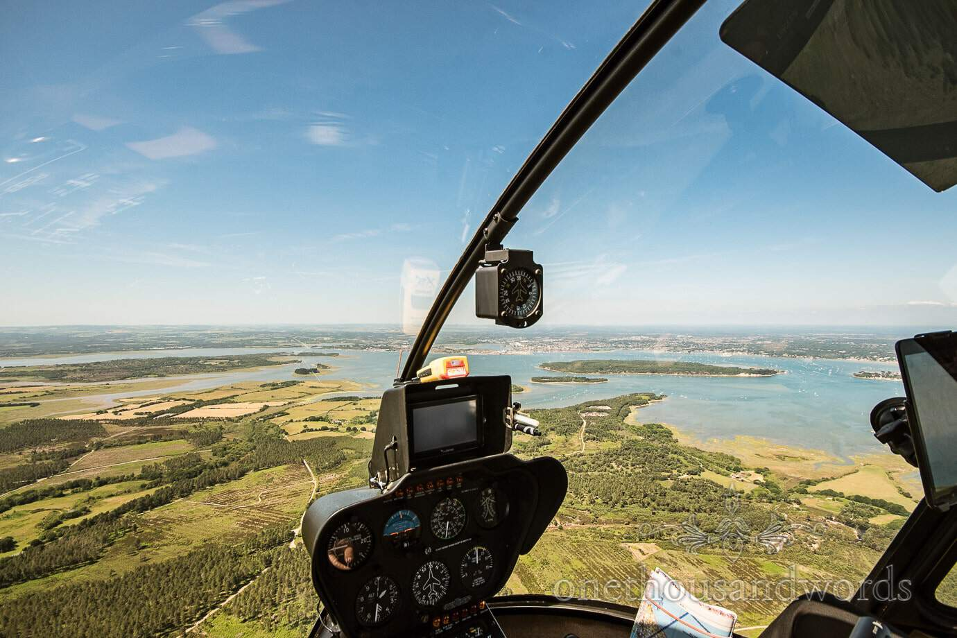 Aerial photograph of Poole Harbour, Dorset from wedding helicopter ride