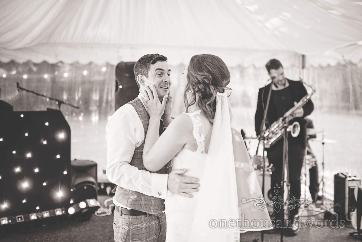 Black and white wedding photography of first dance at The Old Vicarage Wedding
