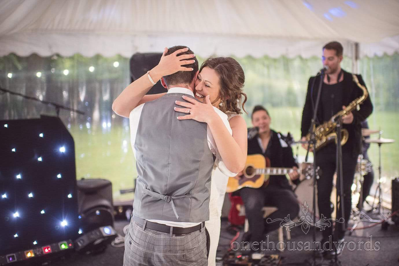 Bride and groom first dance to wedding band at The Old Vicarage Wedding venue