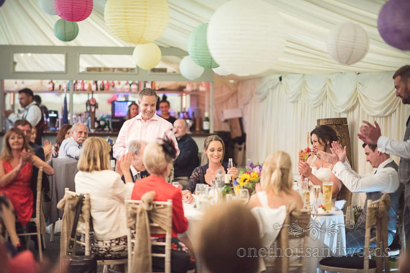 Bride's brother reads Father of the Bride's wedding speech at The Old Vicarage marquee