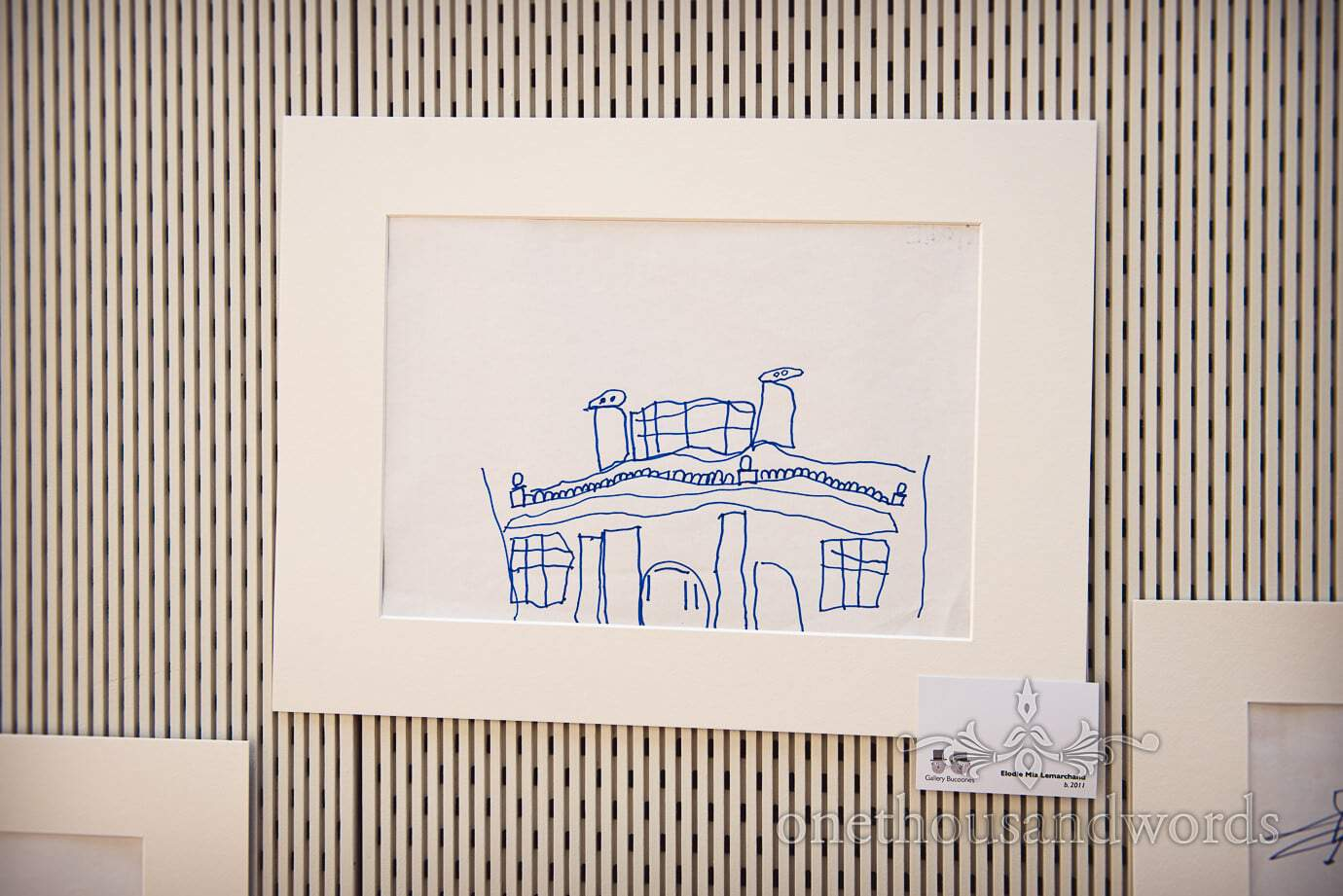 Child's artwork of Durlston Castle wedding venue at wedding art gallery