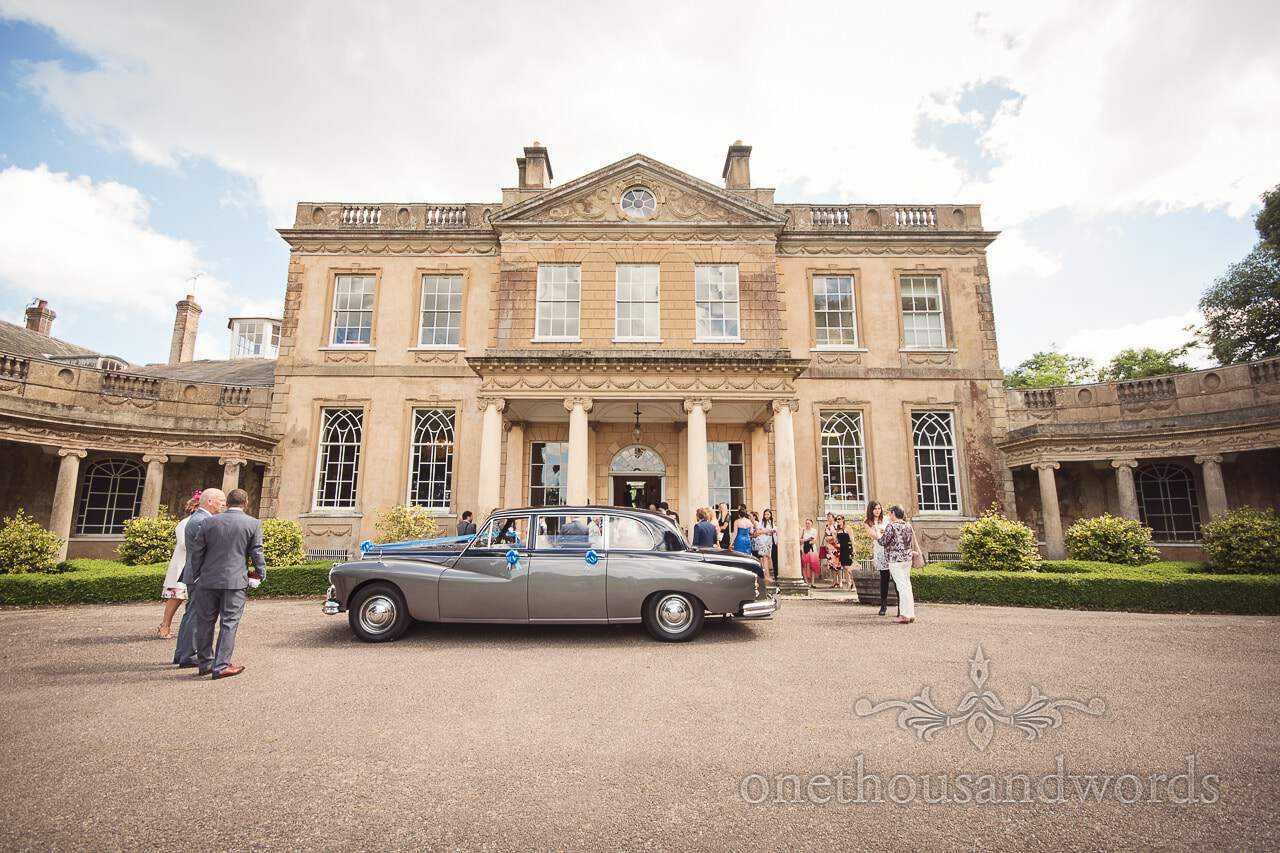 Classic Daimler wedding car at Upton House stately home wedding venue in Dorset