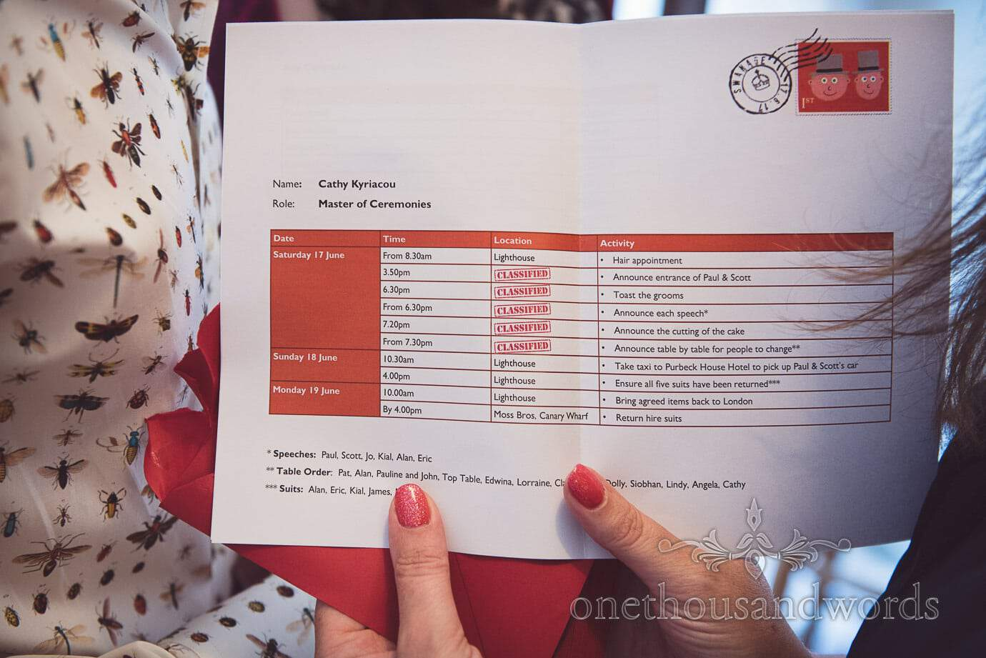 Custom designed wedding schedule with classified surprise sections