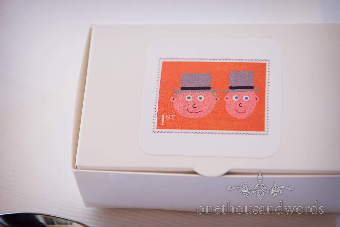 Custom made first class wedding postal stamp with cartoon grooms heads at same sex wedding