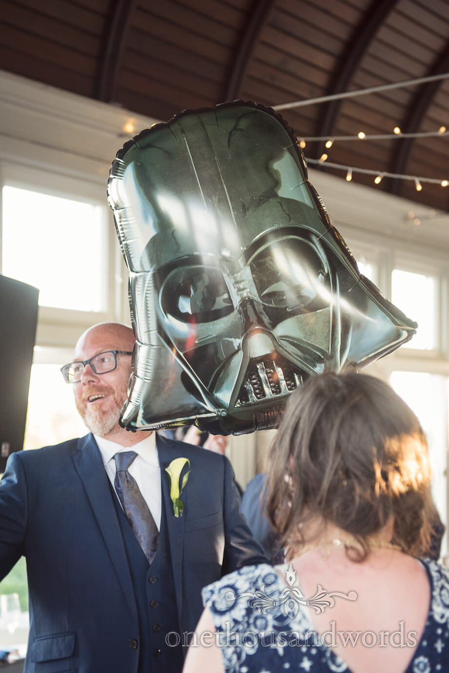 Darth Vader balloon gift at Durlston Castle wedding venue in Dorset