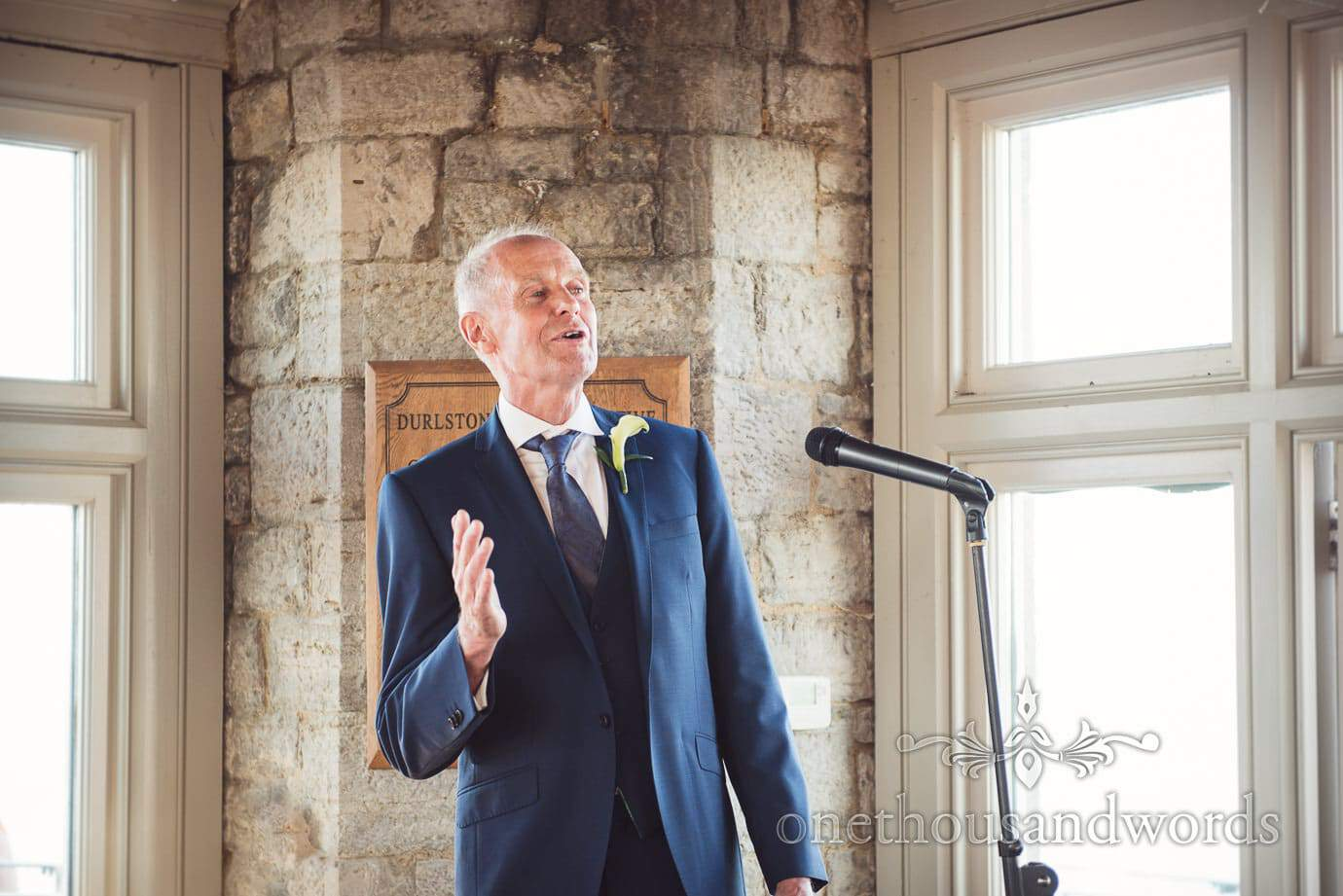 Father of the groom's speech at Durlston Castle wedding venue in Dorset