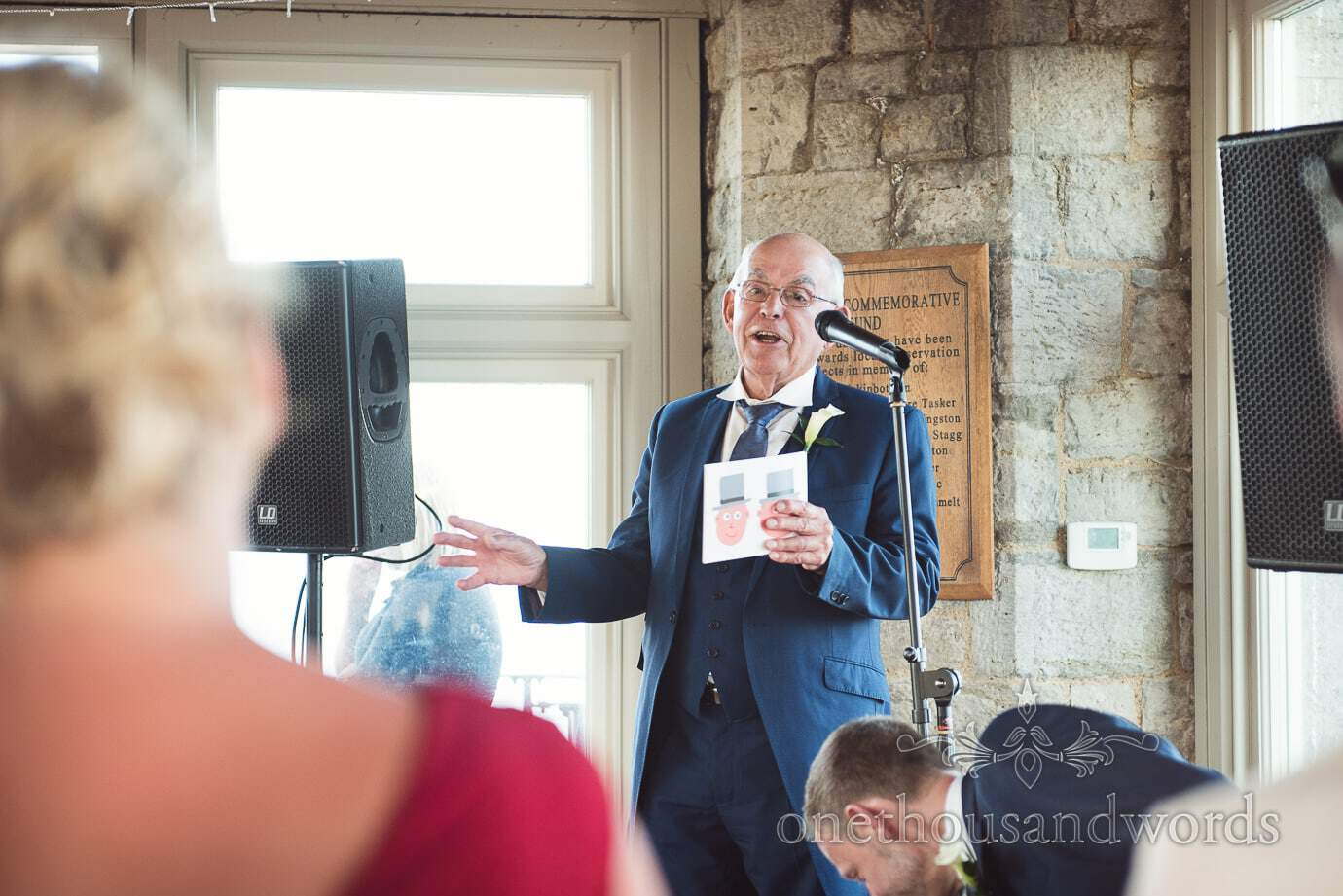 Father of the groom's speech at same sex wedding in Swanage Dorset at Durlston Castle