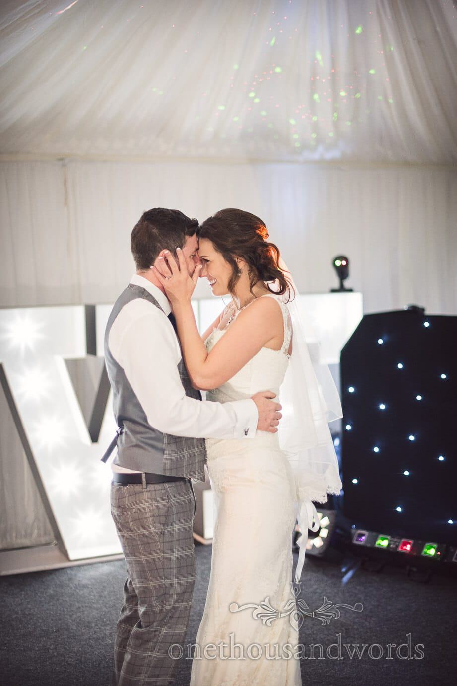 First dance in wedding photograph in marquee at The Old Vicarage Wedding