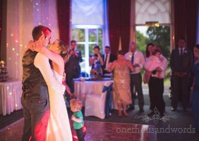 First wedding dance surrounded by friends and family at Upton House wedding venue