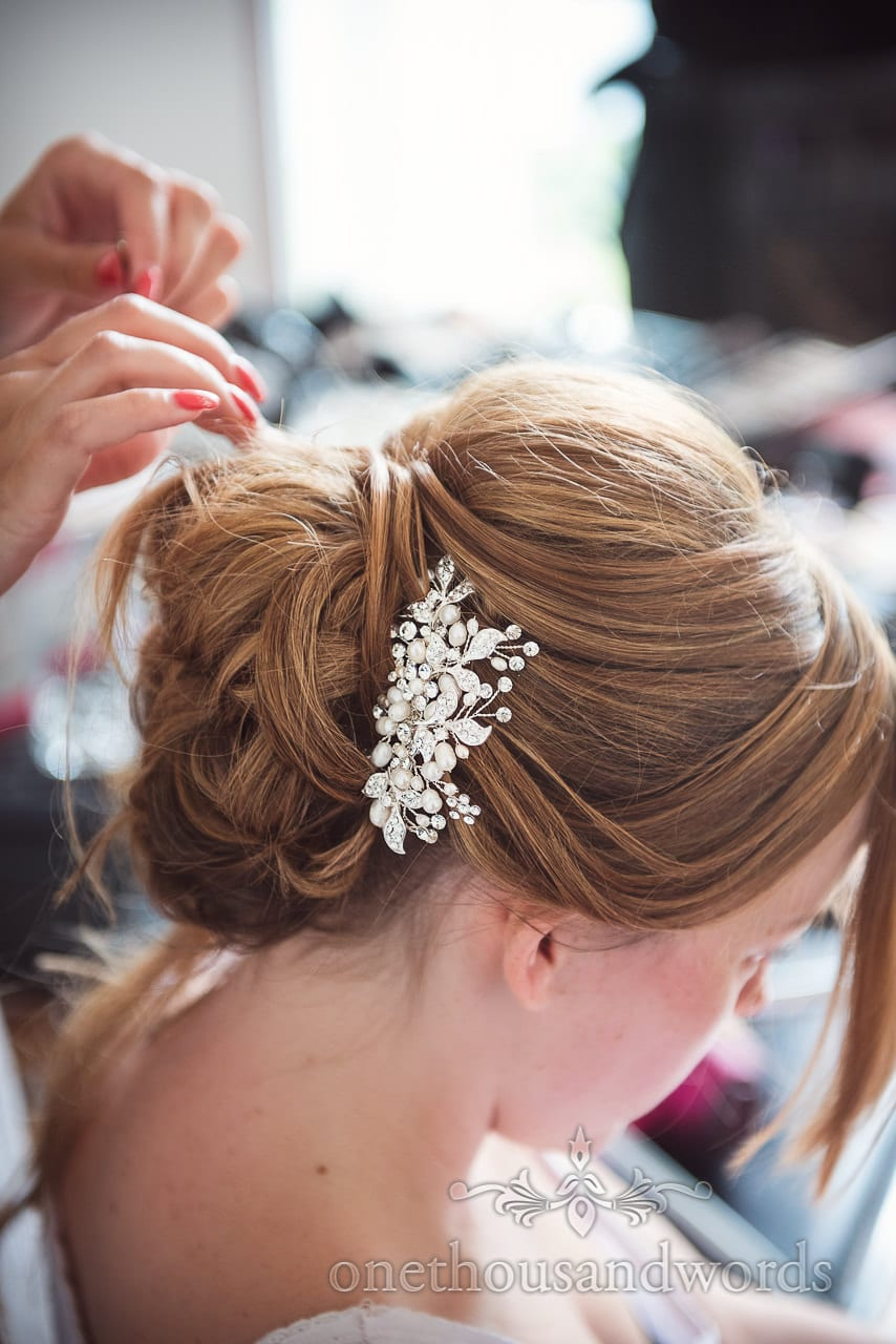 Floral bridal wedding silver hair piece with diamantés and pearl beads