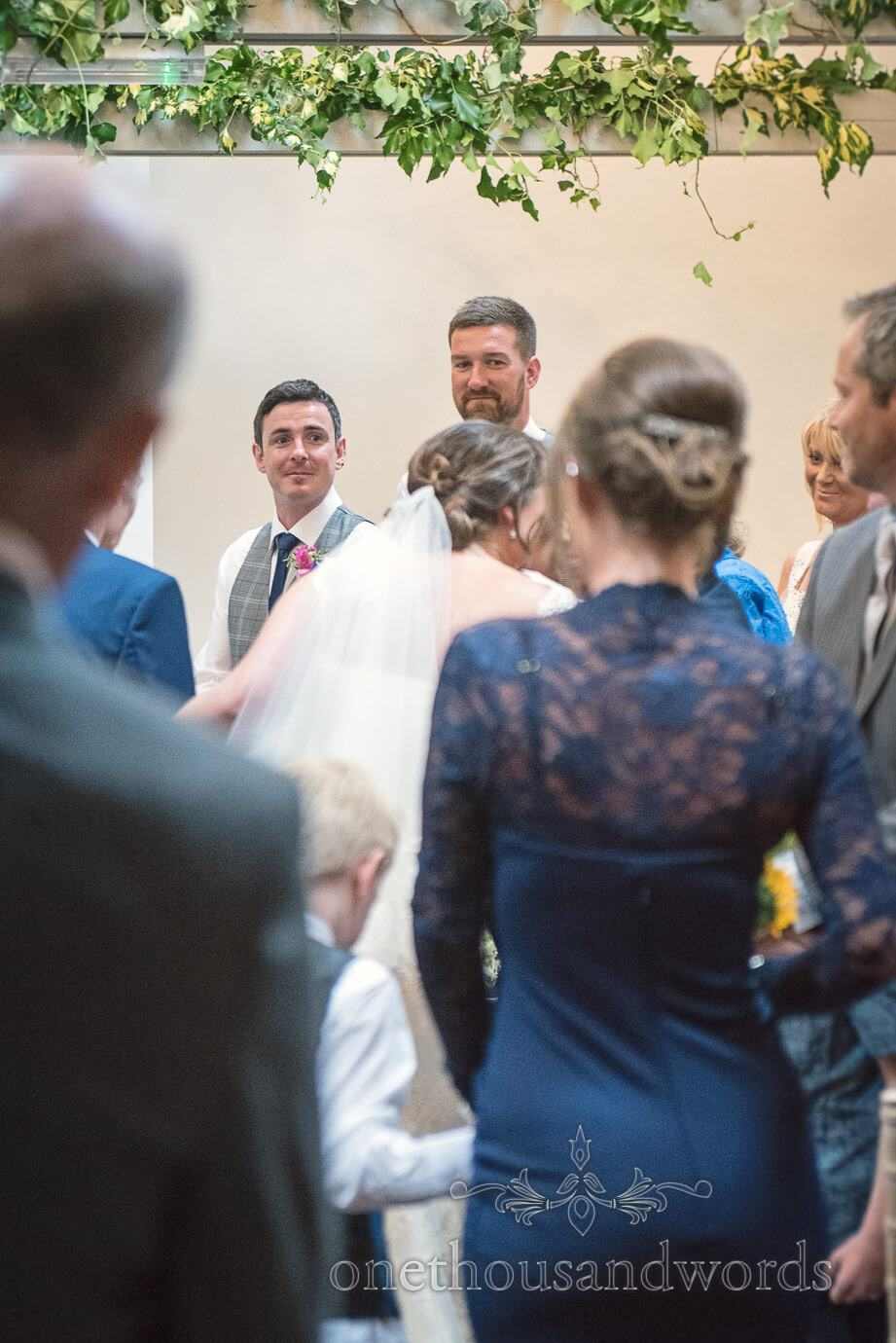 Groom's first look at bride walking down aisle at The Old Vicarage Wedding ceremony