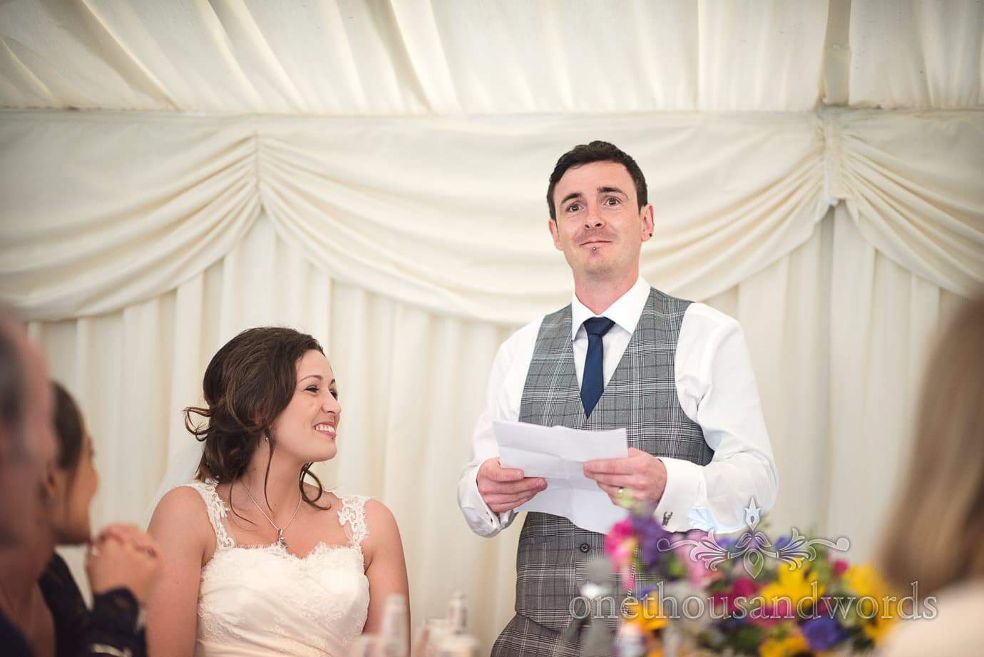 Grooms wedding speech in white marquee at The Old Vicarage Wedding venue in New Forest