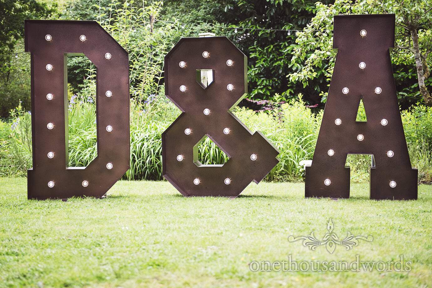 Huge metal wedding light up letters at The Old Vicarage Wedding D & A