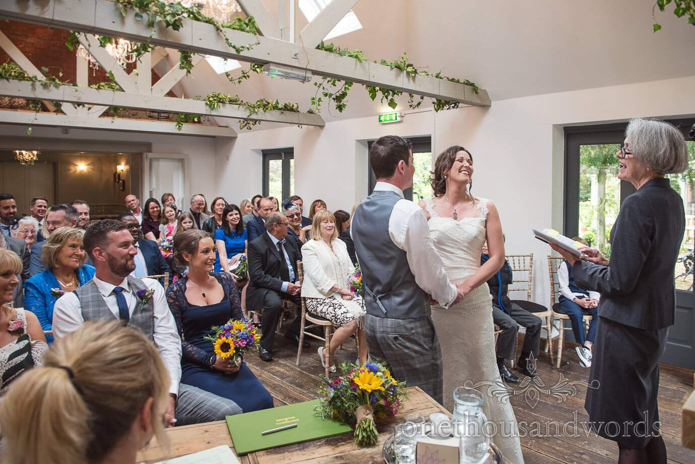 Laughter at The Old Vicarage orangery Wedding ceremony venue in New Forest