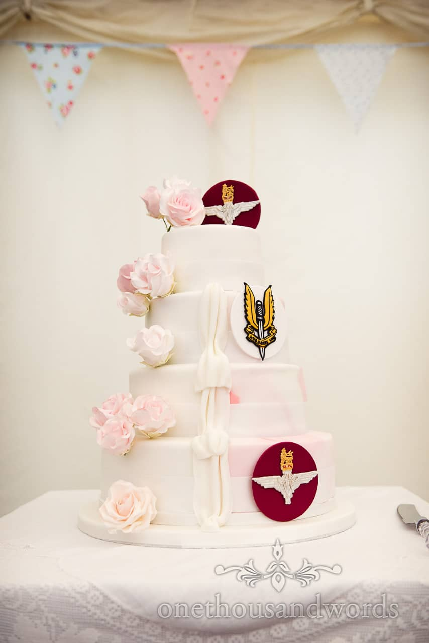 Military wedding cake with SAS he who dares badge and Parachute Regiment badge