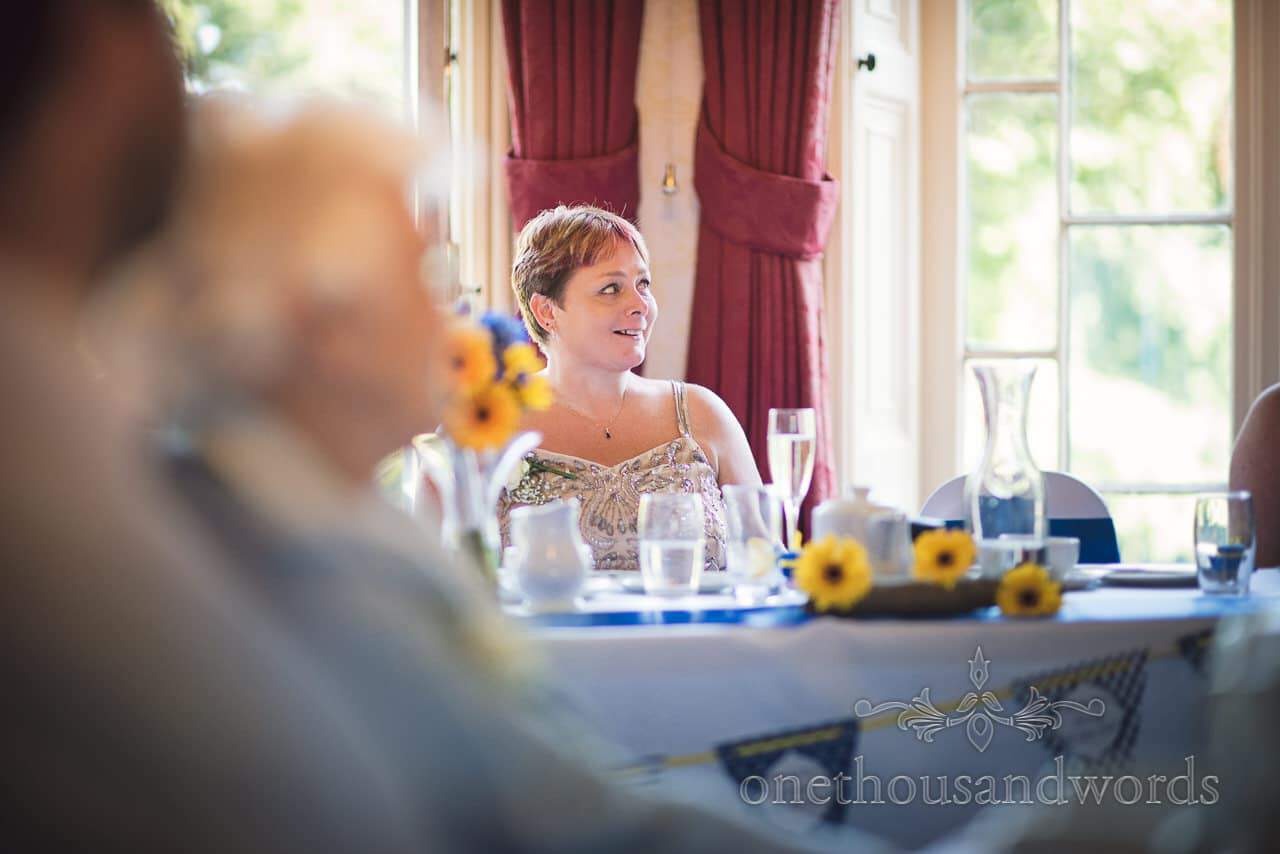 Mother of the bride portrait during wedding speeches at Upton House wedding