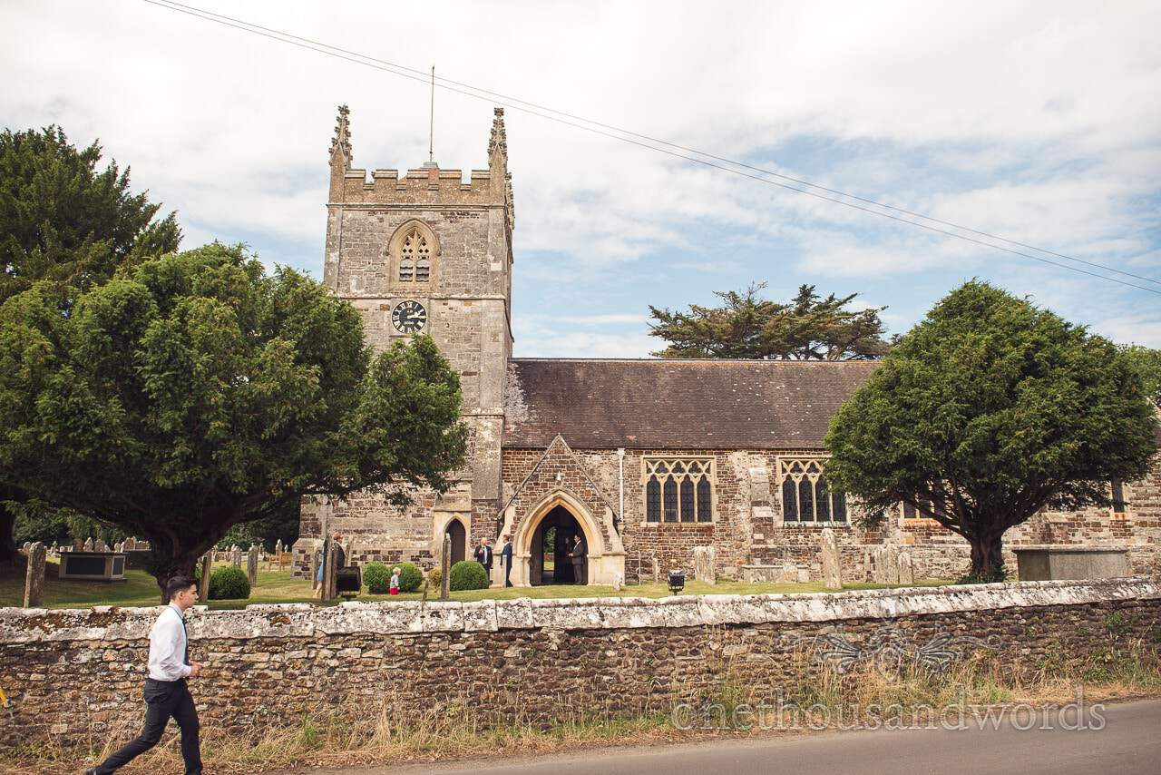 Old English countryside stone church wedding venue in Dorset