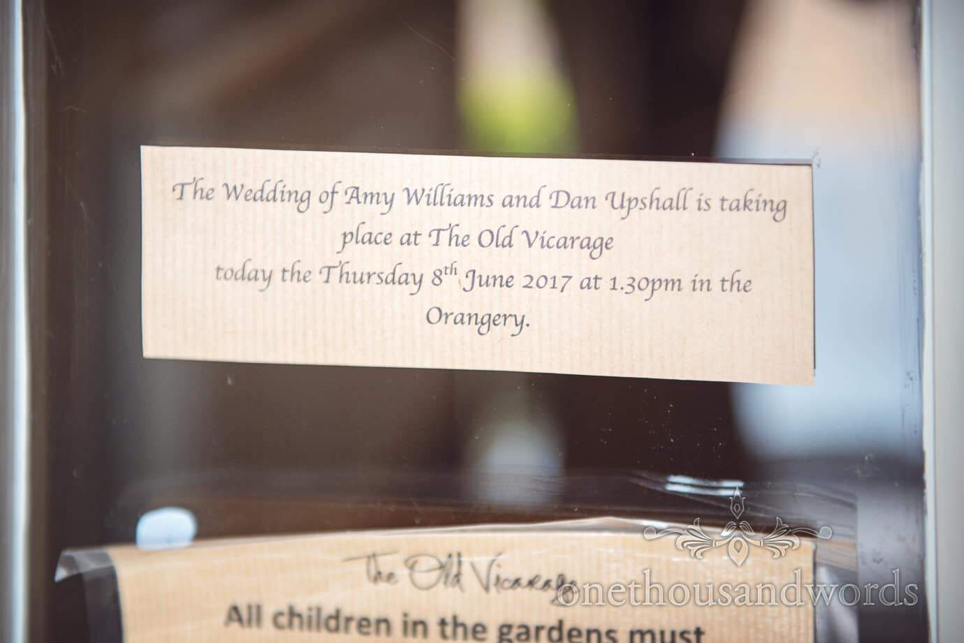 Personal wedding sign on door at The Old Vicarage wedding venue New Forest