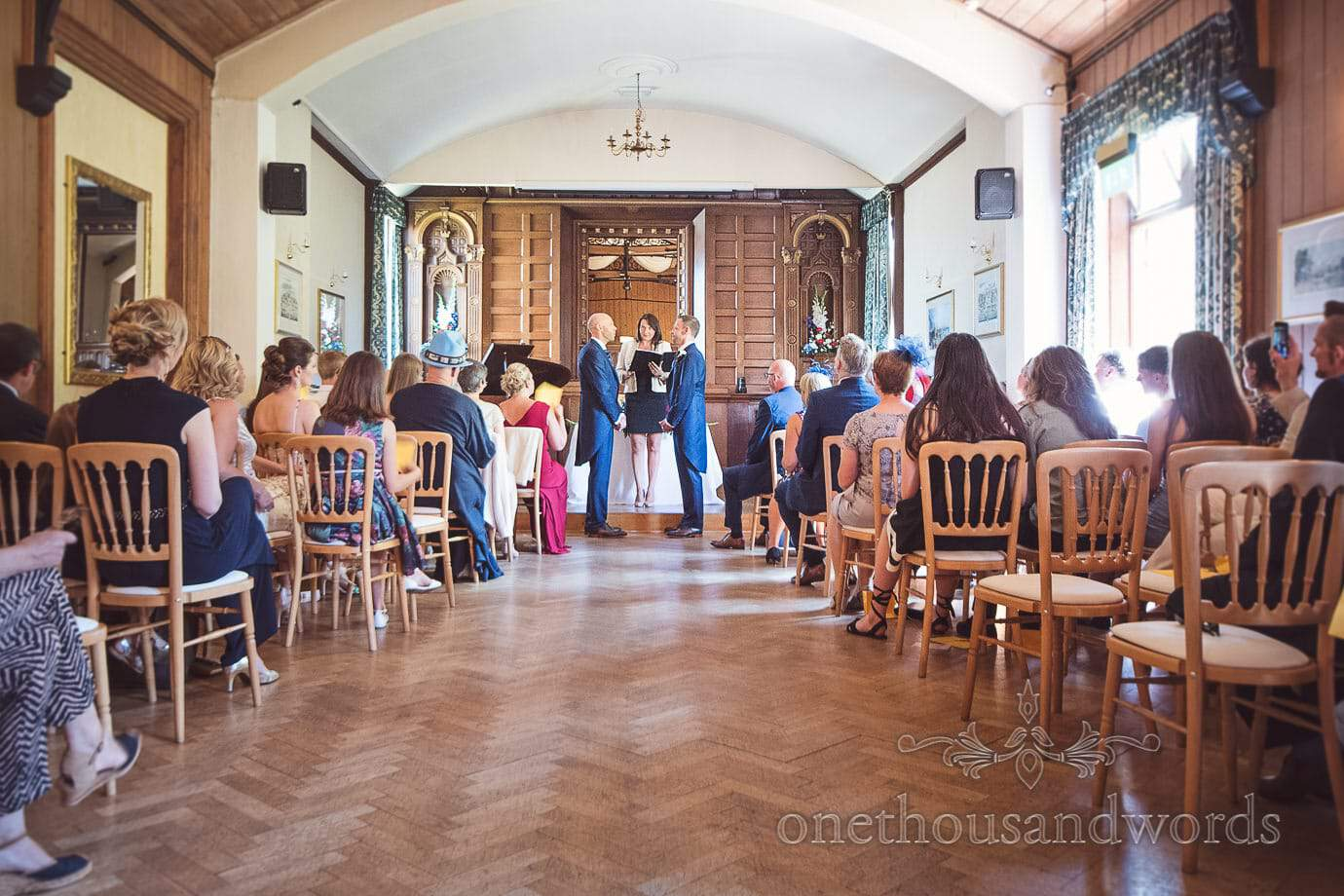 Purbeck House hotel same sex wedding ceremony room with wooden panels