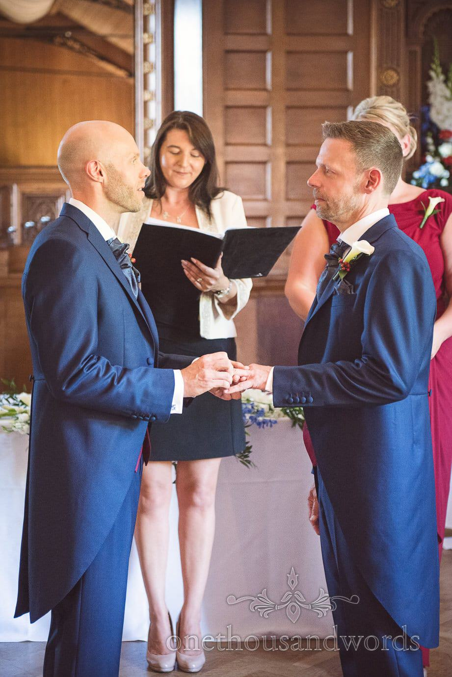 Same sex wedding exchange of rings at Purbeck House Hotel wedding ceremony