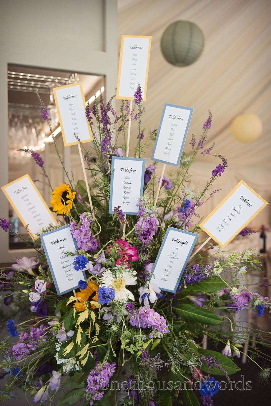 Summer flowers table plan at The Old Vicarage wedding marquee in New Forest