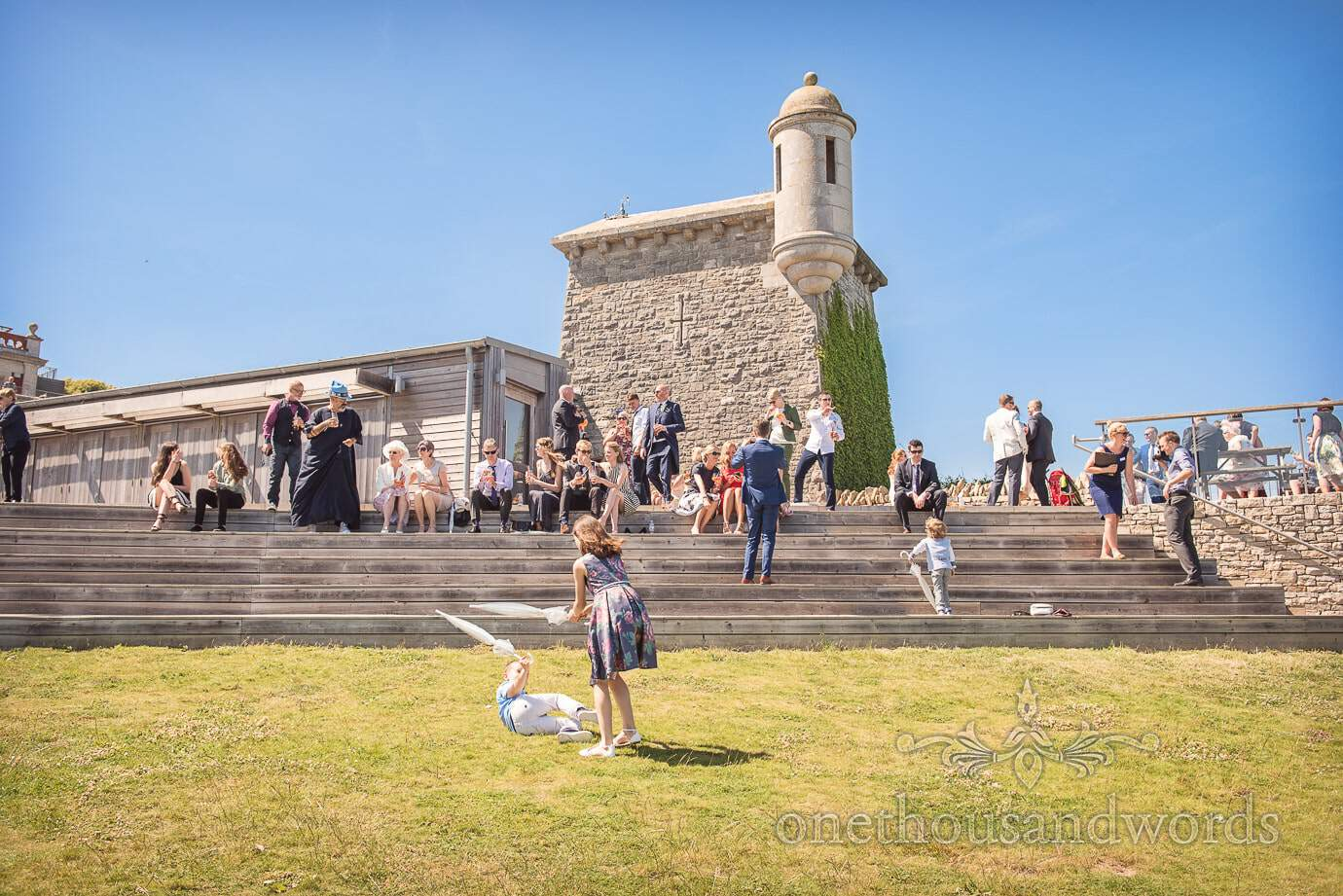 Swanage Wedding Photographers at Durlston Castle wedding drinks reception