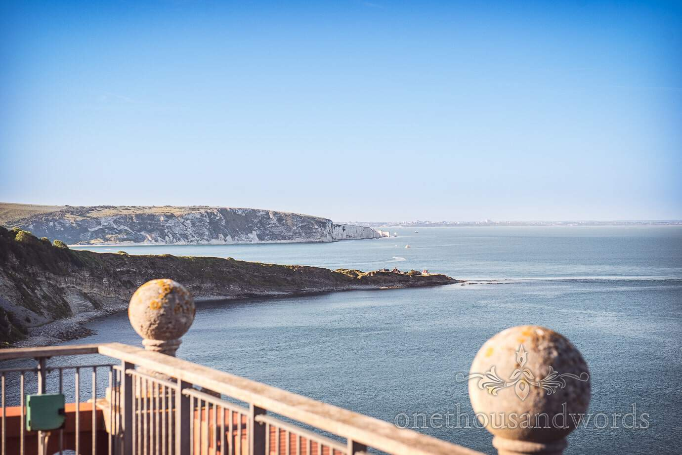 Swanage Wedding Photographers capture sea views from Durlston Castle wedding venue in Dorset