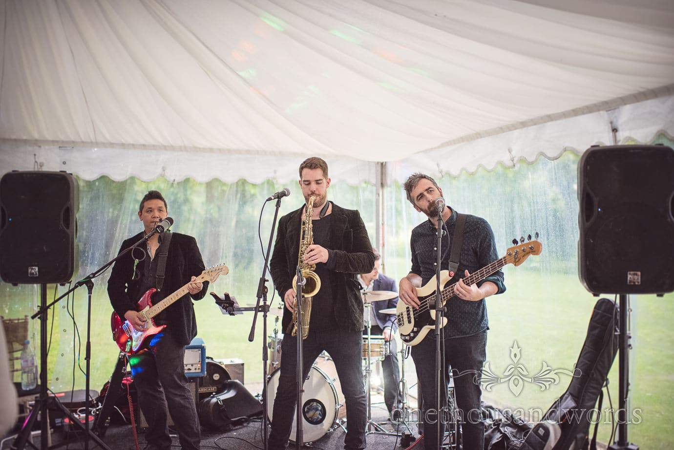 The Brightside wedding band playing at The Old Vicarage marquee Wedding