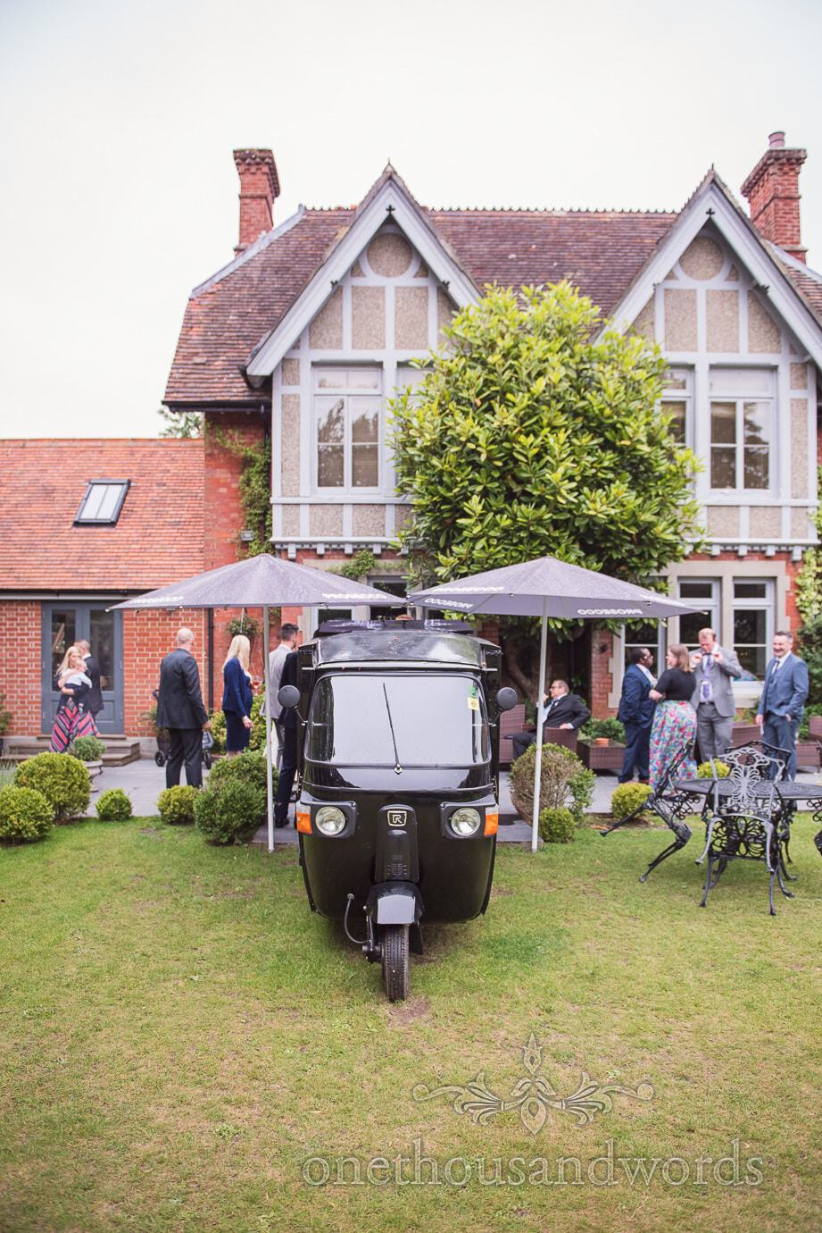 The Old Vicarage country house Wedding venue with Italian coffee motor trike
