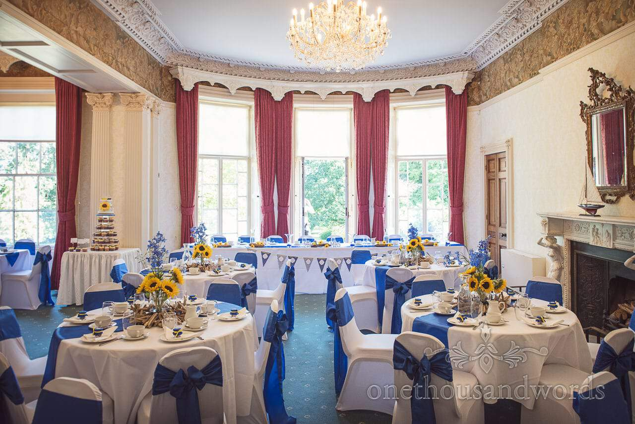 Upton House wedding venue wedding breakfast room set up for blue and yellow nautical wedding