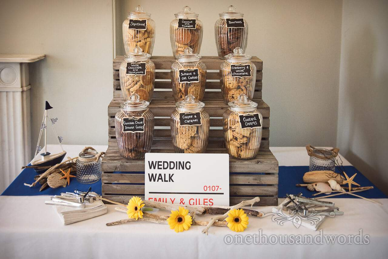 Wedding cookie jars with nautical themed wedding items and custom wedding road sign
