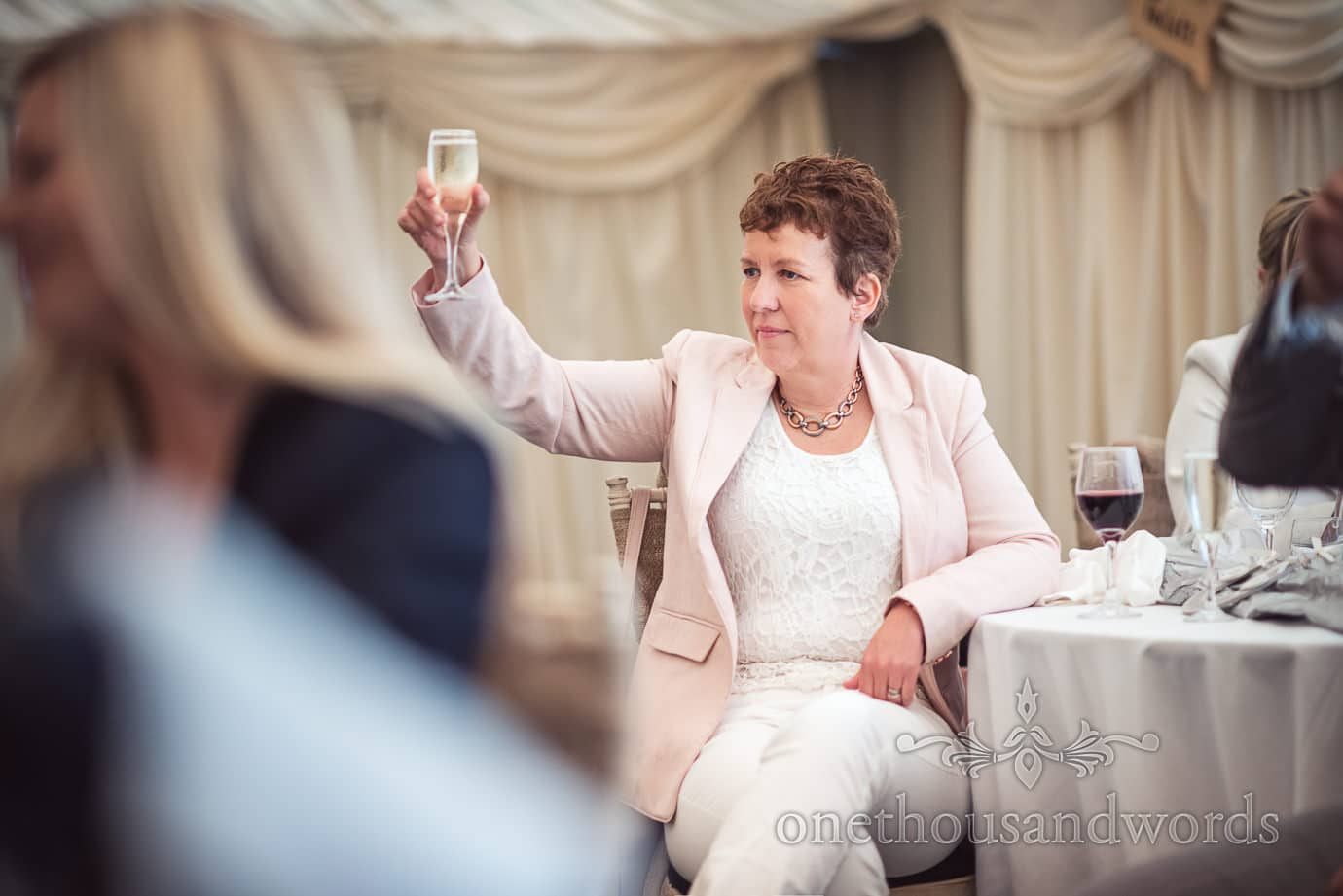 Wedding guest toasts speeches at The Old Vicarage marquee wedding