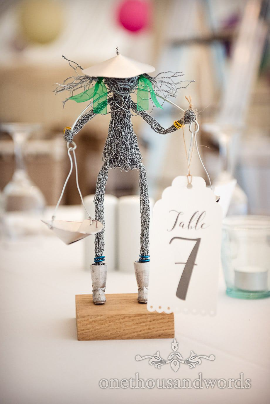 Wedding table number character made from twisted wire
