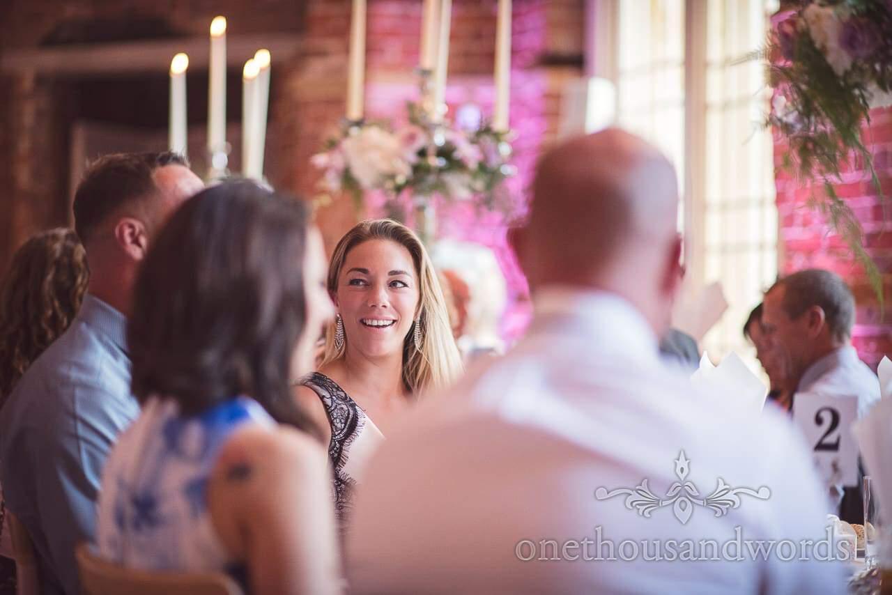 Beautiful blonde wedding guest portrait photograph during Highcliffe Castle Wedding