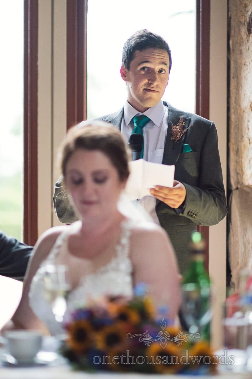 Best man makes wedding speech at Lulworth Castle Wedding breakfast