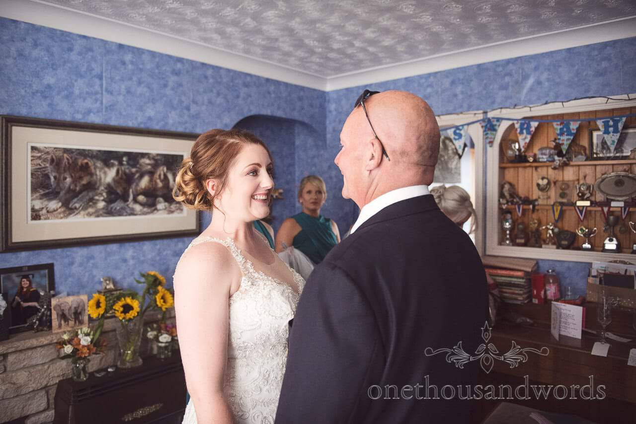 Bride and father from morning of Lulworth Castle Wedding Photographs