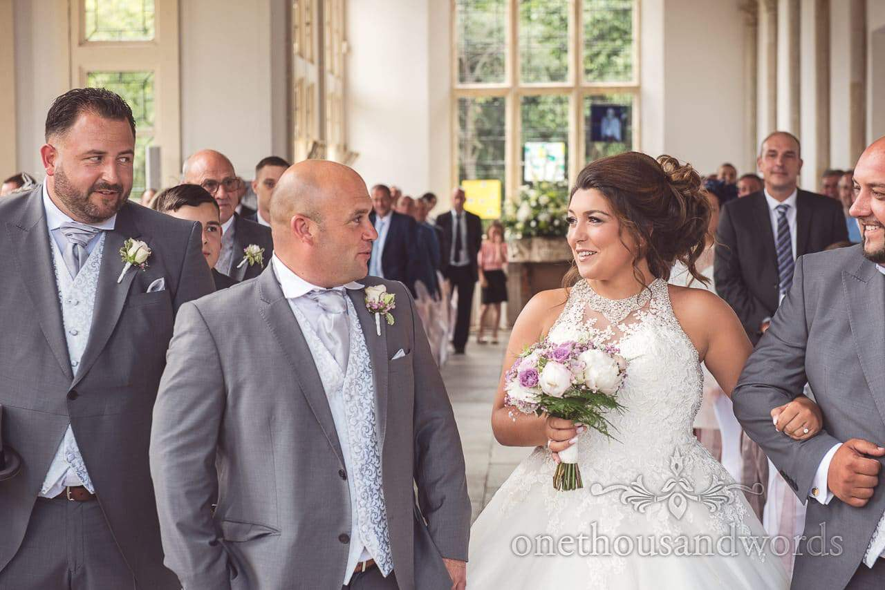 Bride and groom first look at Highcliffe Castle Wedding Photographs in Dorset