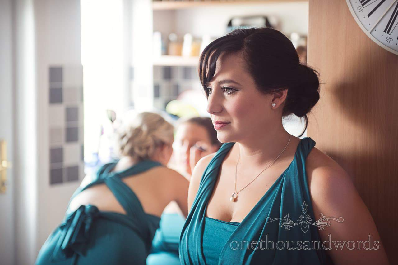 Bridesmaids getting ready on morning of Lulworth Castle Wedding Photographs
