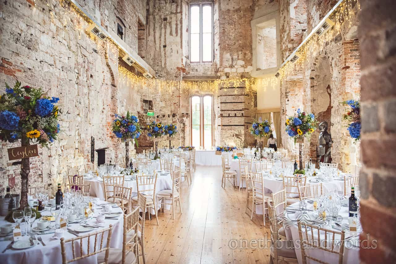 Floral decorated dinning room at Lulworth Castle Wedding Photographs