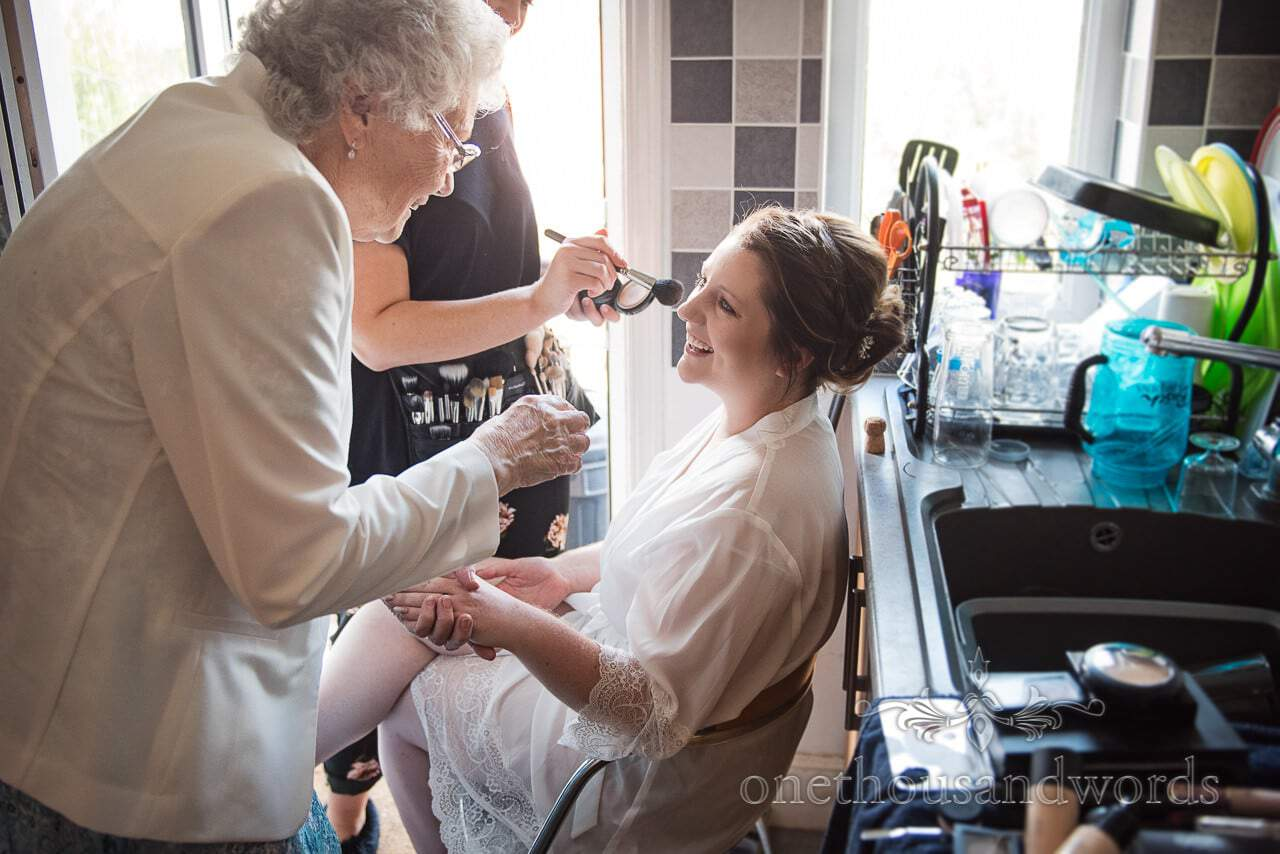 Grandmother and bride on morning of Lulworth Castle Wedding Photographs