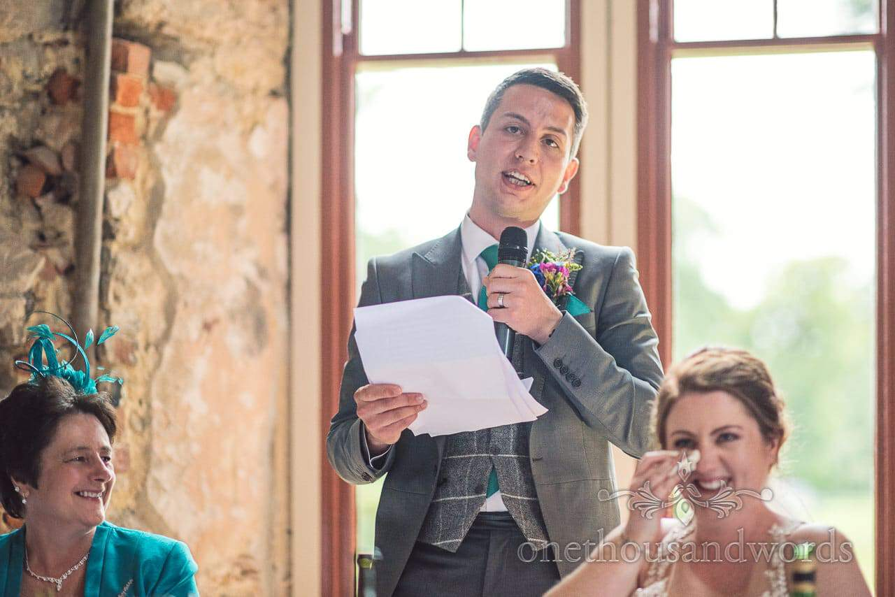 Grooms speech makes bride cry with laughter at Lulworth Castle Wedding