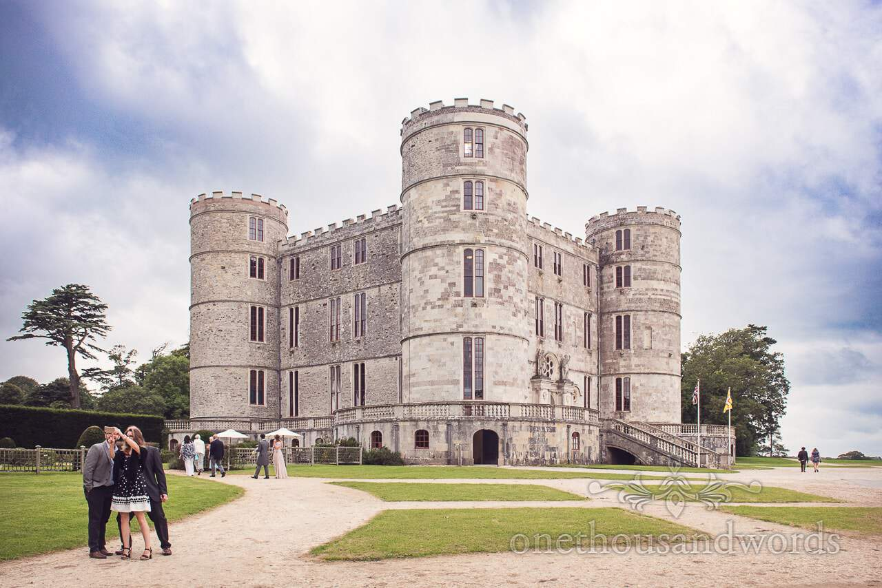 Guests make there way to Lulworth Castle for wedding reception