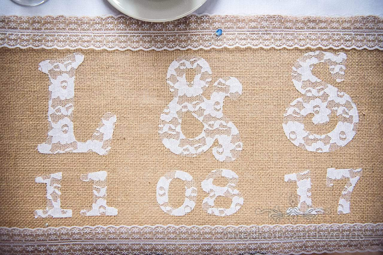 Lace and hessian decoration at Lulworth Castle Wedding Photographs