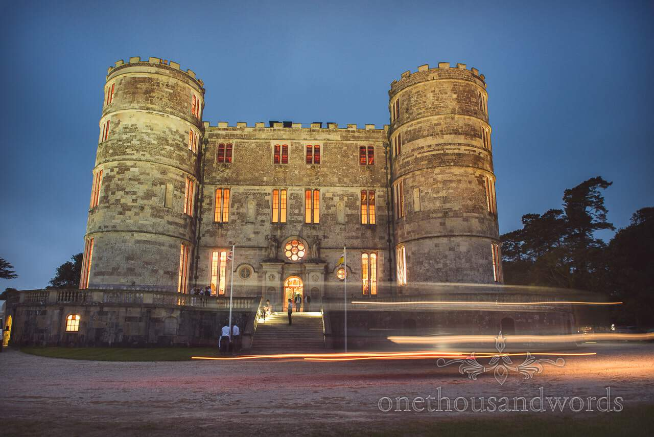 Lulworth Castle Wedding Venue photograph in evening with light trails