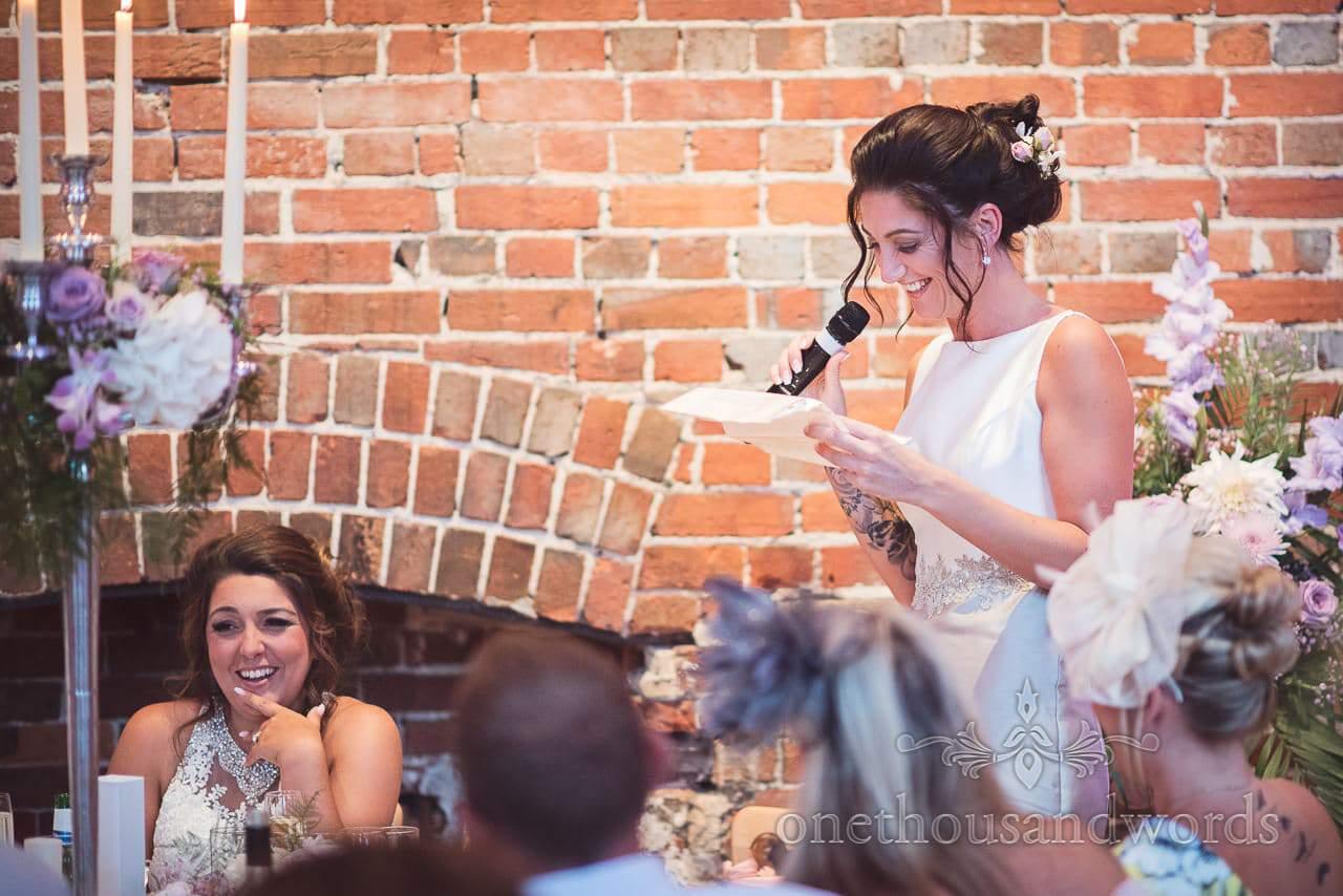 Matron of honour makes wedding speech at Highcliffe Castle Wedding