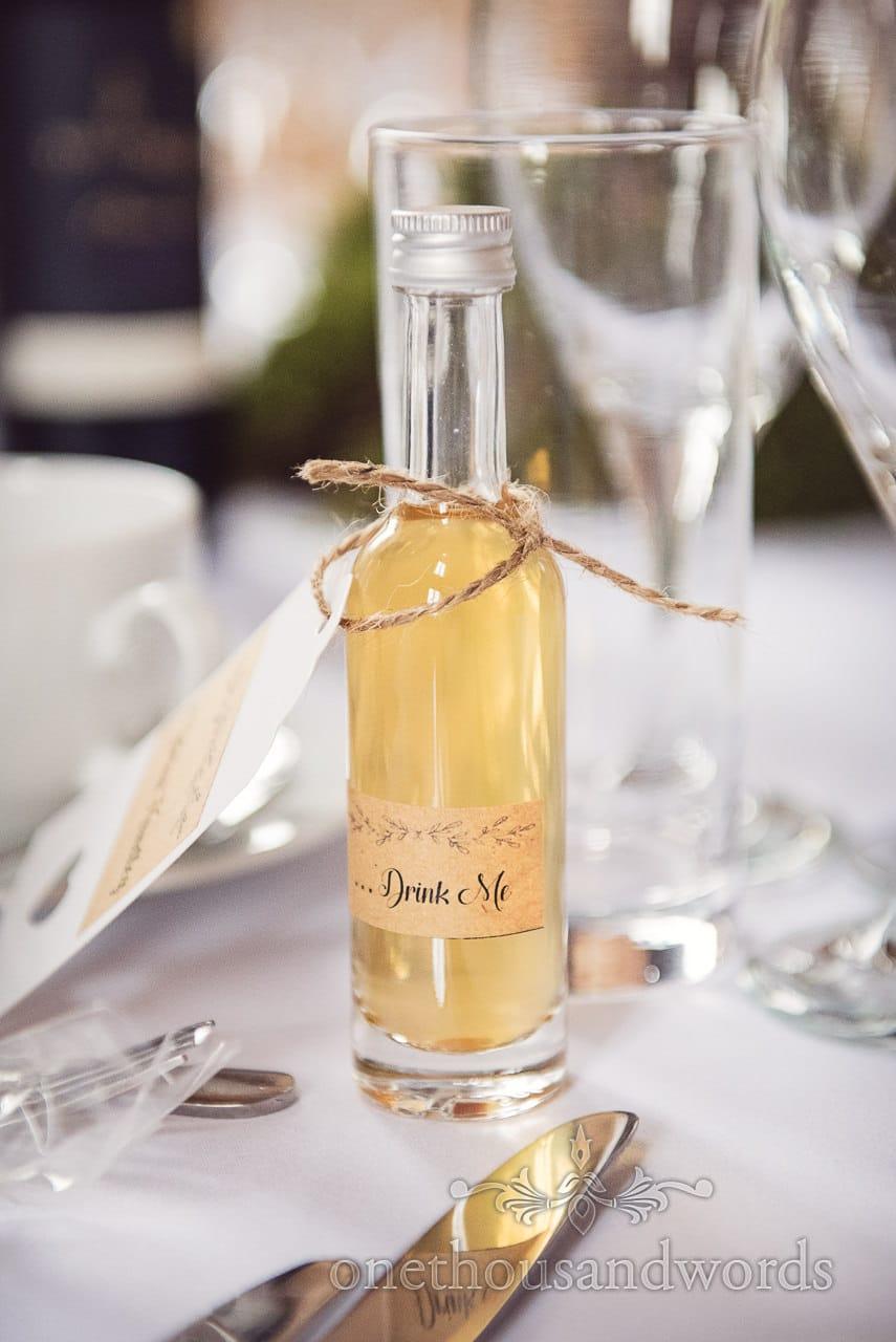 Miniature bottled wedding favor at Lulworth Castle Wedding Photographs