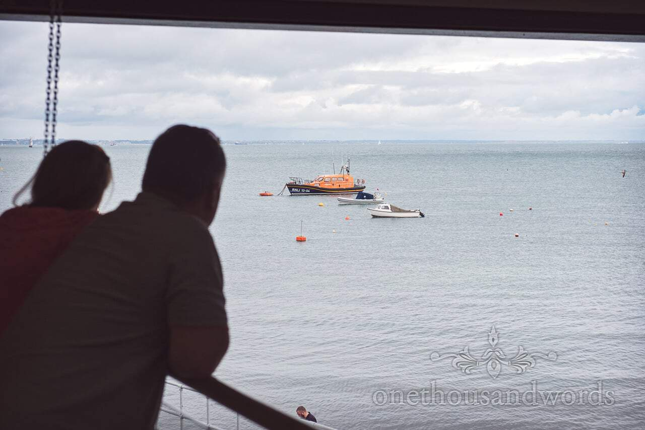 Old lifeboat moored outside Swanage Lifeboat Station during Engagement Photo shoot